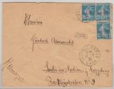 Algerien, 1925, 25 Ct. (3x) als MeF auf Auslandsbrief von Sidi-Bel-Abbes nach Lauter (D.), Brief aus der Fremdenlegion!