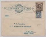 Chile, 1913, 15 Cent. Privat- GS- Umschlag + 5 Cent. Zusatzfrankatur als Auslandsbrief von Santiago nach Basel (CH)