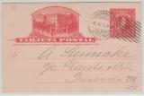 Chile, 1912, 2 Centimos - GS- Karte, als Ortspostkarte gelaufen innerhalb Valparaiso, Abs. ist Dt. Ruderverein!!!