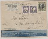 Chile, 1935, 1,80 Pesos MiF auf hochdekorativem Auslands- Werbebriefumschlag von Valdivia nach Frankenberg (D.)