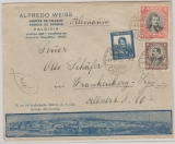 Chile, 1935, 2,90 Pesos MiF auf hochdekorativem Auslands- Werbebriefumschlag von Valdivia nach Frankenberg (D.)