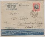 Chile, 1935, 2 Pesos EF auf hochdekorativem Auslands- Werbebriefumschlag von Valdivia nach Frankenberg (D.)