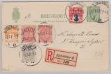 Dänemark, 1926, 8 Öre- Überdruck- GS- Anwortkarte (Frageteil) + 24 Öre- GS Ausschnitte als Zusatz, auf R- Karte innerhalb Kopenhagens