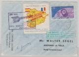 Andorra, 1962, 0,5 Fr. EF auf Erstflugbrief, zum ersten Start einer Zucker Rakete in Andorra / den Pyrinäen, 1962