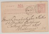 Australien / Victoria, 1889, One- Penny-GS- Karte gelaufen von Wodonga nach Melbourne