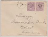 Australien / Victoria, 1904, 2 Pence (2x) als MiF gelaufen im Inlandsverkehr von ... nach Hobart