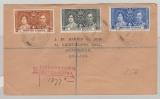 British Guiana, 1937, 2- 6 Ct. Jubilee Issue auf Einschreiben- Auslandsbrief von Georgetown nach Birmingham (GB)