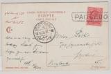 Ägypten / GB, 1908, One Penny (GB) EF auf Bildpostkarte (Hotel Continental), von Port Said + (Paquetbot) nach London