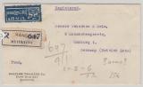 Burma, 1951, 25 As, als MiF rs. Auf Auslands- Einschreiben- Luftpostbrief von Rangoon nach Hamburg