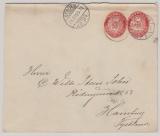 Dänemark, 1905, 10 Öre- GS- Umschlag (groß) + 10 Öre- GS- Ausschnitt, auf Auslandsbrief von Struer nach Hamburg