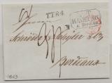 T + T, Hamburg, 1843, Auslandsbrief ab T + T- Postamt Hamburg nach Bordeaux, mit div. Transit- und Taxvermerken