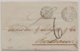 T + T, Bremen, 1859, Auslandsbrief ab T + T- Postamt Bremen nach Bordeaux, mit div. Transit- und Taxvermerken / Stempeln