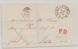 Preussen, 1866, Auslandsbrief von Elberfeld (schöner Hufeisenstempel!) nach Lille (Fr.), mit Transit- und Taxvermerk