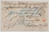 Preussen, 1871, Wertpaket- Begleitbrief (Vorderseite) mit Auslagenvermerk von Düsseldorf (Hufeisenstempel!) nach Nassau