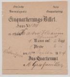 Hessen, 1884, Einquartierungsbeleg für 1 Mann und 1 Pferd für 2 Tage, aus Hattersheim (?), Hessen