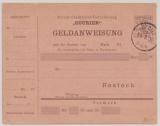 Stadtpost Rostock Courier, 1900, ungebrauchte Geldanweisung, aber abgestempelt 1900 (1. mir bekannte Stück!)