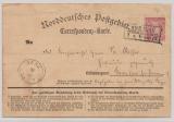 NDP, ca. 1870, Mi.- Nr.: 16 als EF auf Correspondenz- Karte von Breslau nach Ramelow