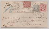 NDP, ca. 1870, 1 Gr.- GS Umschlag + Mi.- Nr.: 16 + 17 als Zusatzfrankatur als MiF auf Wertbrief von Emden nach Hannover