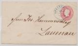 Hannover, 1860, 1 Gr.- GS- Umschlag (Mi.- Nr.: U8II) gebraucht als Fernbrief von Springe nach Lauenau (nette vorphila-Stempel!)