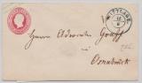 Hannover, 1859, 1 Gr.- GS- Umschlag (Mi.- Nr.: U5II) gebraucht als Fernbrief von Wittlage (netter vorphila-Stempel!) nach Osnabrück