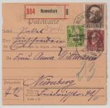 Bayern / DR- Infla, 1920, 1,5 Mk. Luitpold + DR- Mi. - Nr.: 119 als MiF auf Wertpaketkarte von Nonnenhorn nach Nürnberg