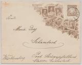 Bayern, 1906, 3 Pfg.- Privat- GS- Umschlag, zu Ehren der Centenarfeier, gelaufen von Schlachters (?) nach Schanbach