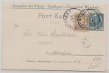 Bayern, 1901 (?), 5 Pfg.- Stadpost München, Privatpostkarten- GS, + 2 Pfennig Bayern Zusatzfrankatur als Ortspostkarte