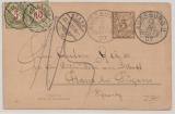 Bayern / Schweiz, 1907, 5 Pfg.- GS- Karte + Schweizer Nachporto, gelaufen von Augsburg nach Stans (CH)