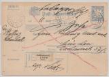 Bayern, 1901, 20 Pfg.- Postanweisungs- GS, gelaufen von Bad Reichenhall nach München (und zurück?)