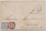 T + T, ca. 1865, 9 Kr. als MiF auf Fernbrief von FF/M Bahnhof nach Leipzig