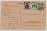 Danzig, 1921, 20 Pfg.- GS (Mi.- Nr.: P14)+ Zusatzfrankatur, gebraucht als Fernpostkarte von Danzig nach Bremerhaven