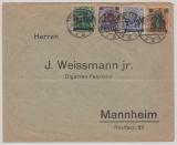 Danzig, 1920, nette und interessante 4  Farben MiF auf Fernbrief von Danzig nach Mannheim
