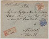 Danzig, 1917, nette und interessante Germania MiF auf Einschreiben- Fernbrief von Danzig nach Neustadt