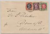 Danzig, 1921, nette und interessante 3- Farben MiF auf Fernbrief von Danzig nach Bonn