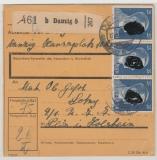 Danzig / DR, 1944, DR- Mi.- Nr.: 793 (3x) als MeF auf Paketkartenstammteil, für ein Paket von Danzig nach Plön