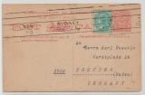 Australien, New South Wales, 1910 (?), 1 Penny- GS + 1/2 Penny Zusatzfrankatur als Auslandskarte von Syney nach Bretten