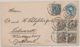 Dänemark, 1897, 4 Öre- GS- Umschlag + 16 Öre Zusatzfrankatur in MiF auf Auslandsbrief von Kopehagen nach Liebenzell (D)