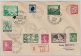 DR / Frankreich / Belgien, 1940, Wanderbrief mit div. Abstempelungen und Marken der Länder DR/B/Fr. auf Einschreiben