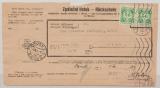 B + M, 1941, Mi.- Nr.: D 3 (2x), als MeF auf Rückschein von / nach Brünn