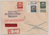 D. Dt. Dienstpost Lothringen, 1940, Mi.- Nr.: 15 (Eck- OR + Pl. Nr.!) u.a., als MiF auf Eilboten- Einschreiben von Metz nach Lössnitz