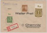 92 u.a. (937 PORndgz) auf Fernbrief- Einschreiben vom Postamt Weimar nach Chemnitz