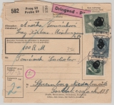B + M, 1944, Mi.- Nr.: 107 u.a. als MiF auf Paketkarte, für ein Eil- Wertpaket von Prag nach Spremberg, rs. mit Ankunftstempel