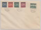 B + M, 1939, Mi.- Nr.: 1, 3, 4, 5 + 7 als MiF auf Umschlag, nicht gelaufen, gestempelt Prag...