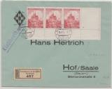 B + M, 1942, Mi.- Nr.: 30 (3x, vom UR / ER + Leerfeld incl. Stern) , als MeF auf Einschreiben von Neuenburg nach Hof