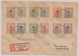 Finsterwalde, Mi.- Nr.: 1- 12, als kpl. Satzbrief als Einschreiben- Fernbrief von Finsterwalde nach Hamburg