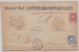 Pfennige, Mi.- Nr.: 33 + 34 als MiF auf Wertbrief von Calvörde nach Salzwedel, mit besserem Alt- Braunschweig Stempeln