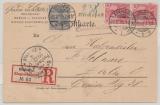 Germania, Reichspost, Mi.- Nr.: 53 + 56 (2x) als MiF auf Einschreiben- Ortspostkarte von Rixdorf (heute Berlin!) nach Berlin
