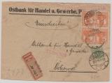 Germania, Infla, Mi.- Nr.: 99 (4x) + polnische Marke (!) als MiF auf Einschreiben- Fernbrief von Scalmierzyce nach Ostrowo