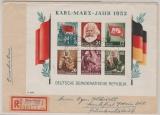DDR, 1953, BLock 8/9 A/B, je als EF auf Einschreiben- Fernbrief, von Karl- Marx- Stadt nach FF/M, je gepr. Weigelt BPP