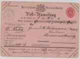 Braunschweig, 1866, Postanweisung (Mi.- Nr.: A 3), gebraucht über 20 Thaler, von Schöningen nach Braunschweig